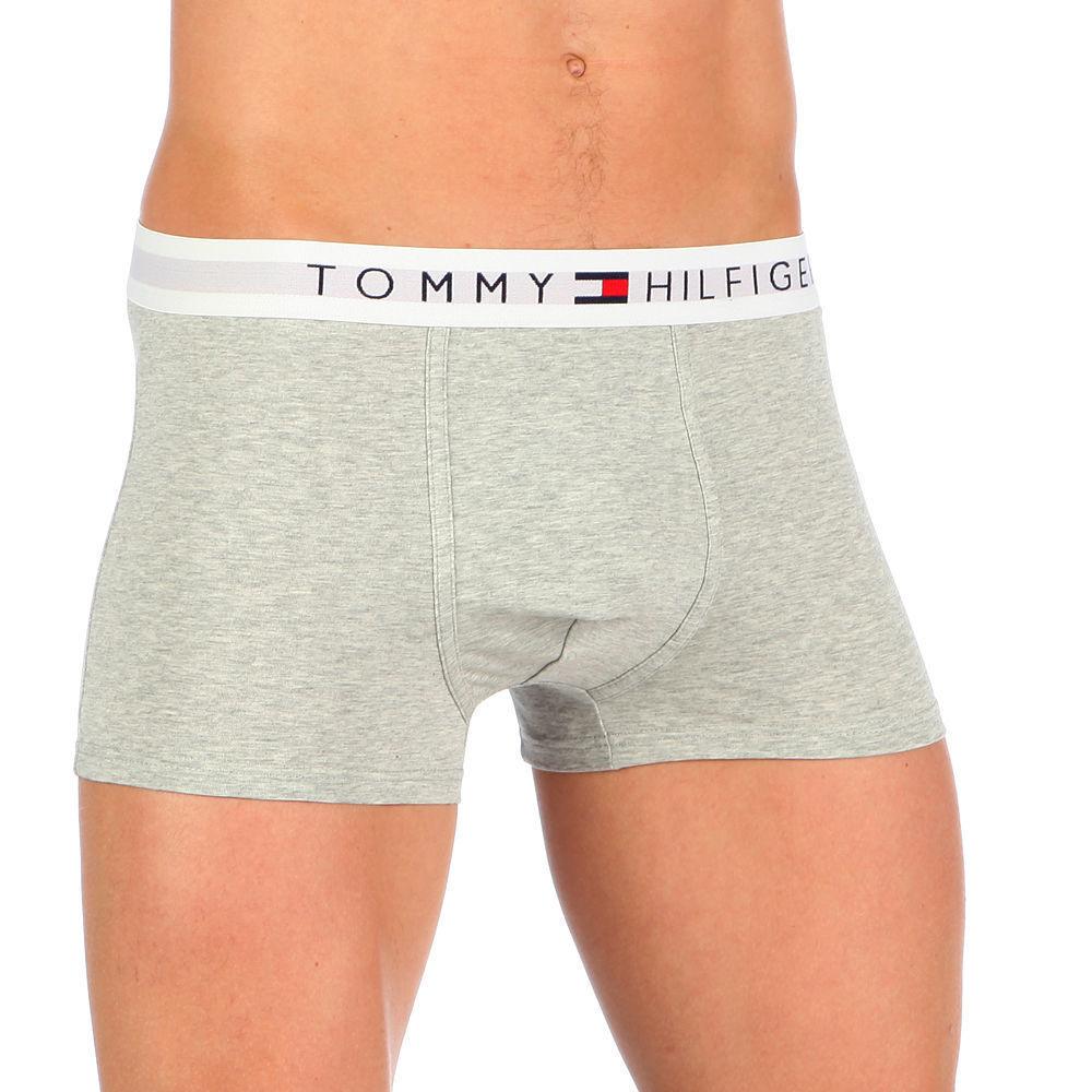 Мужские трусы боксеры серые с белой резинкой Tommy Hilfiger