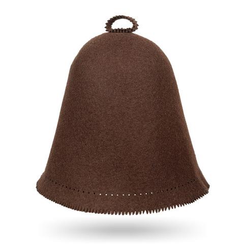 Шапка для Бани коричневая Scandinavian цельновалянная