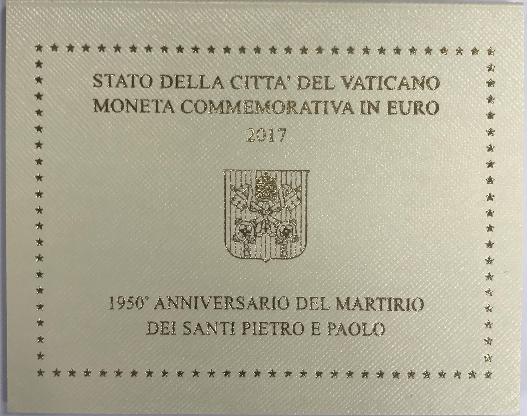 """2 евро Ватикан в буклете  """"1950-летие мученической смерти святых Петра и Павла""""  2017 год"""