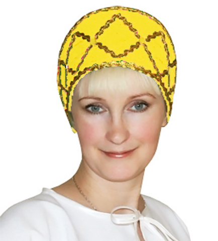 Русский народный кокошник жёлтый