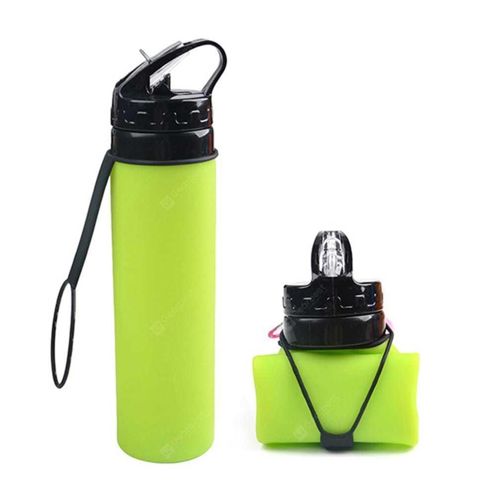 Бутылка силиконовая скручивающаяся 600 мл. зеленая