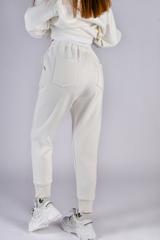 Белый спортивный костюм женский на флисе оптом