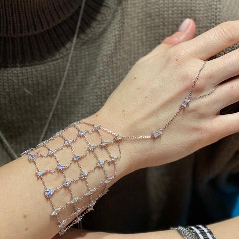 17427- Роскошный слейв-браслет кольцо с сеткой на запястье из серебра с цирконами