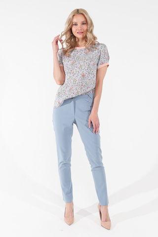 Фото голубая прямая блуза с цветочным принтом и коротким рукавом - Блуза Г710а-109 (1)