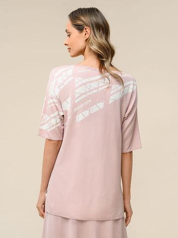 Женский джемпер светло-розового цвета с контрастным принтом из шелка и вискозы - фото 4