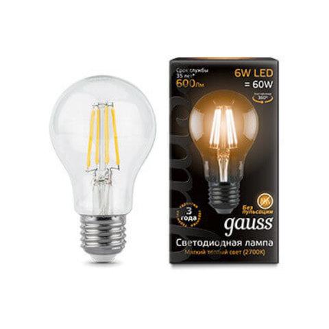 Светодиодная лампа A60 6W E27 прозрачная 2700К (Теплый)