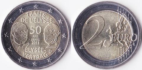 Германия 2 евро Франко-германская дружба