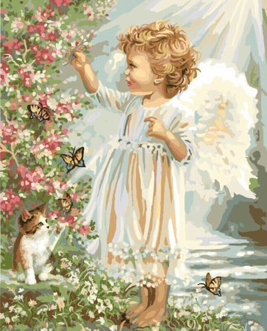 Картина раскраска по номерам 30x40 Белокурый ангелок с котенком