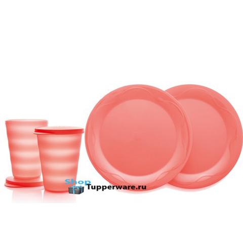 Стаканы 330мл-2шт + тарелки 28см-2шт. из коллекции Очарование