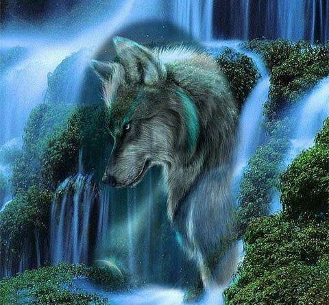 Картина раскраска по номерам 40x50 Волк и водопад (Без подрамника)