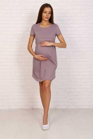 Мамаландия. Сорочка для беременных и кормящих с горизонтальным секретом, какао/белый горох