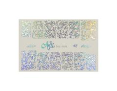 Фольга для дизайна ногтей серебро галогеновое 42