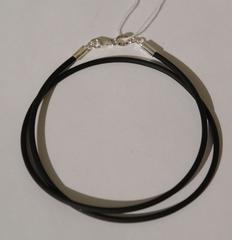 Каучуковый шнурок 2 мм. (с серебряной застежкой).