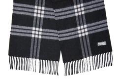 Шерстяной шарф, мужской черный с полосками 30291