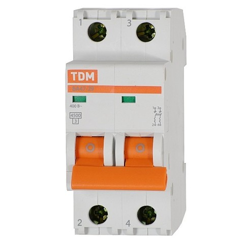 Автомат выкл.TDM ВА47-29 2Р 10А 4,5кА С