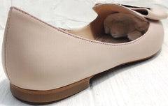 Модные туфли балетки женские кожаные Wollen G192-878-322 Light Pink.