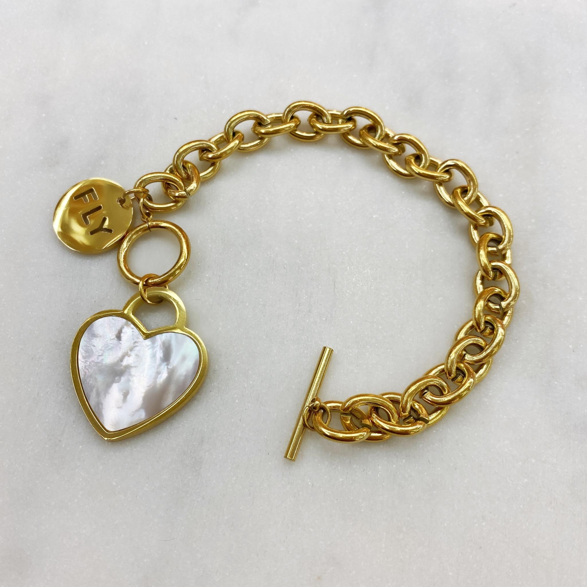 Браслет-цепь FLY с сердечком, сталь (золотистый)