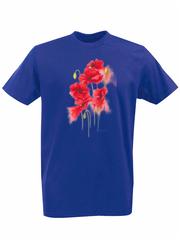 Футболка с принтом Цветы (Маки) синяя 002