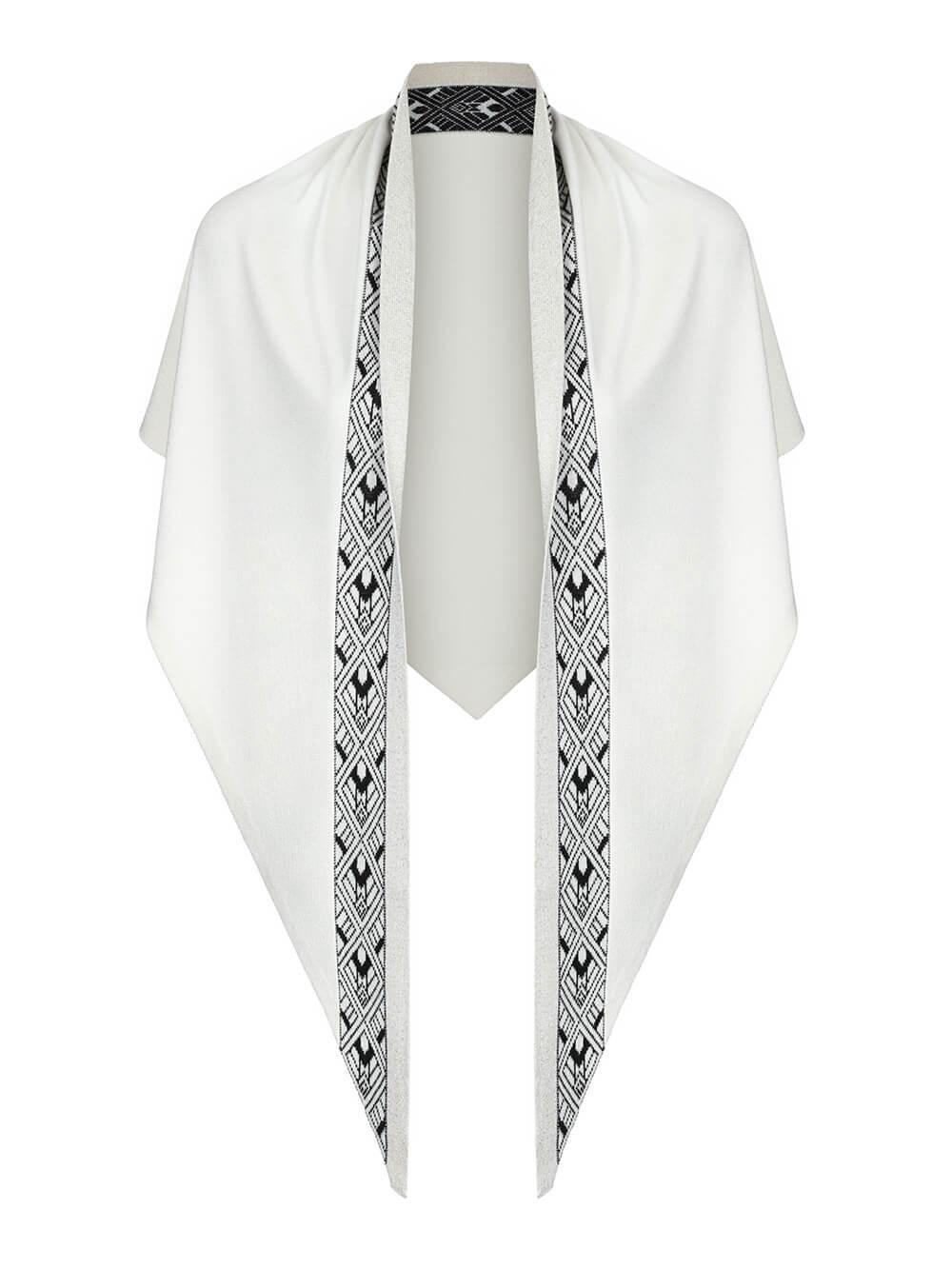 Женский платок молочного цвета из шелка и кашемира - фото 1
