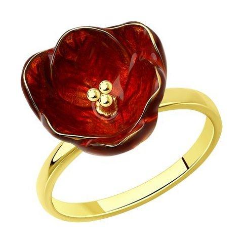 93010871 - Кольцо из золочёного серебра с эмалью