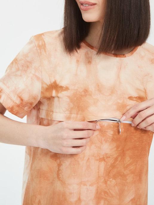 Стильная футболка оверсайз Chic mama с секретами для кормления