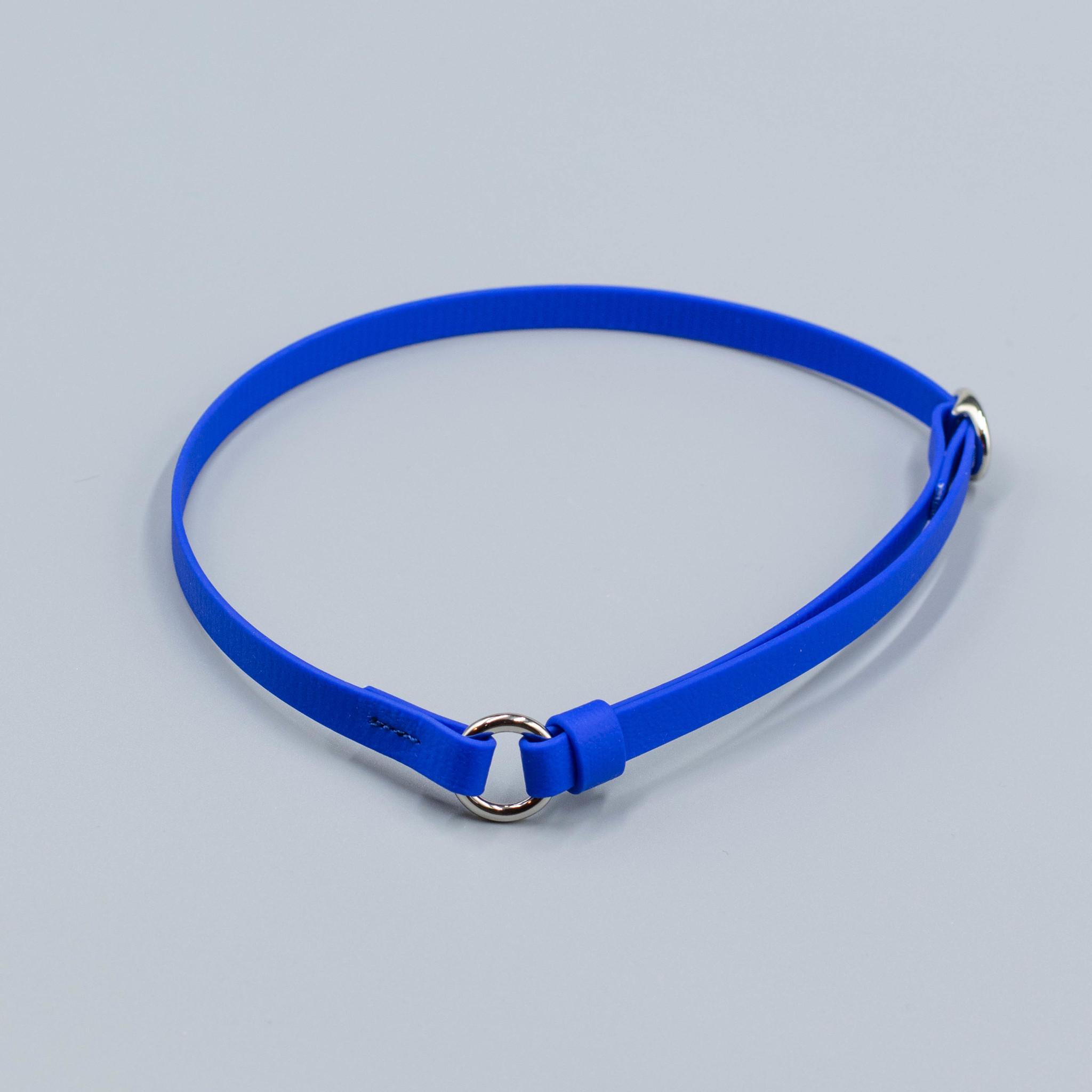 Регулируемый ошейник из биотана. Синий/ 35-55 см