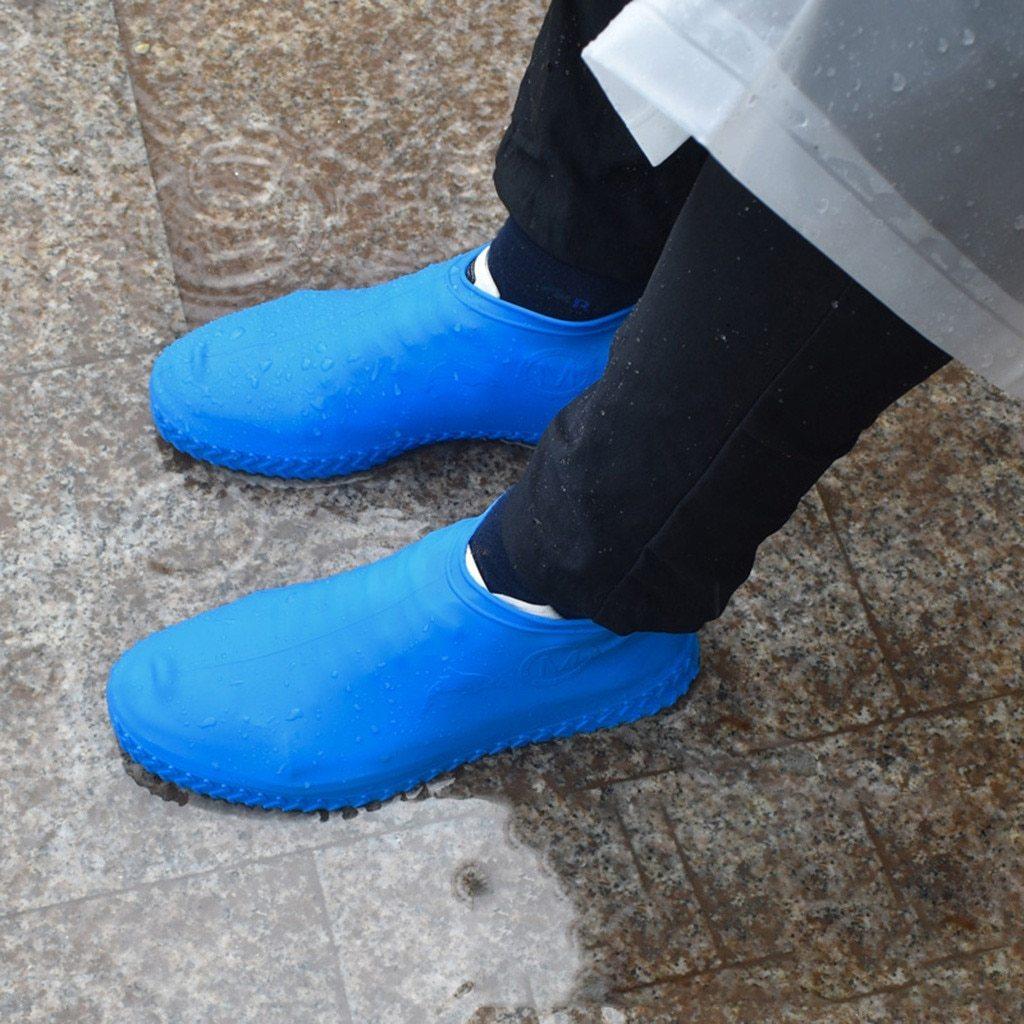Многоразовые бахилы синие Shoescondom толстый силикон