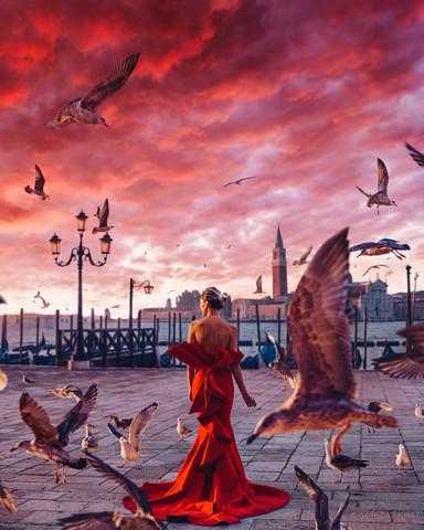 Алмазная Мозаика 40x50 Девушка в красном и птицы