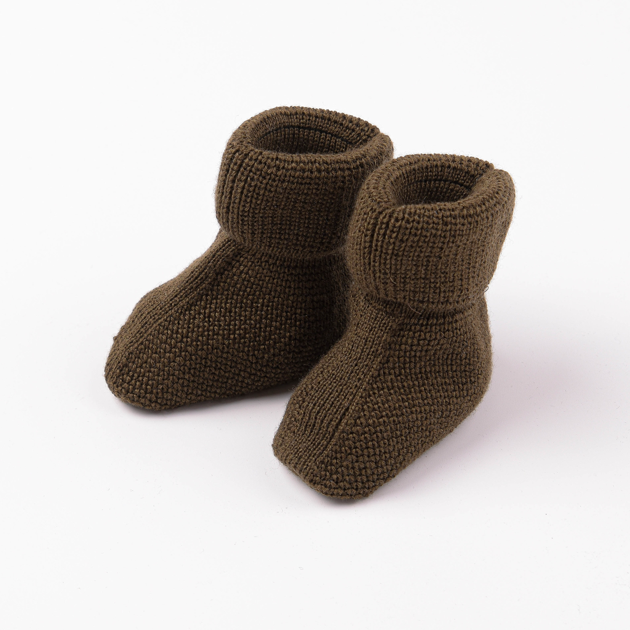 Knitted baby booties 0+, Chocolate Biscuit