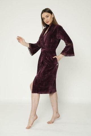Халат женский  велюровый 0359 фиолетовый  NUSA Турция