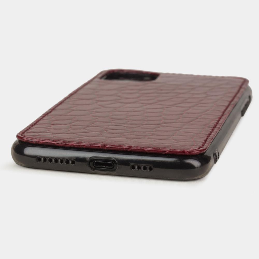 Special order: Чехол для iPhone 11 Pro Max из натуральной кожи аллигатора, вишневого цвета