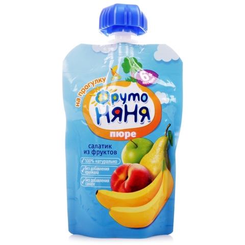 Пюре ФРУТО НЯНЯ Салатик из фруктов 4 фрукта 90 гр РОССИЯ