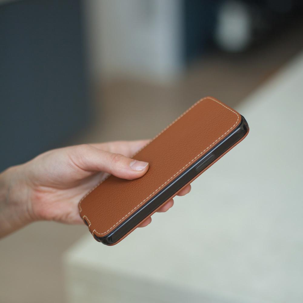Чехол для iPhone 12/12Pro из натуральной кожи теленка, цвета карамель