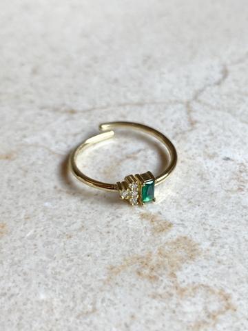Кольцо Лайт из позолоченного серебра с зеленым цирконом