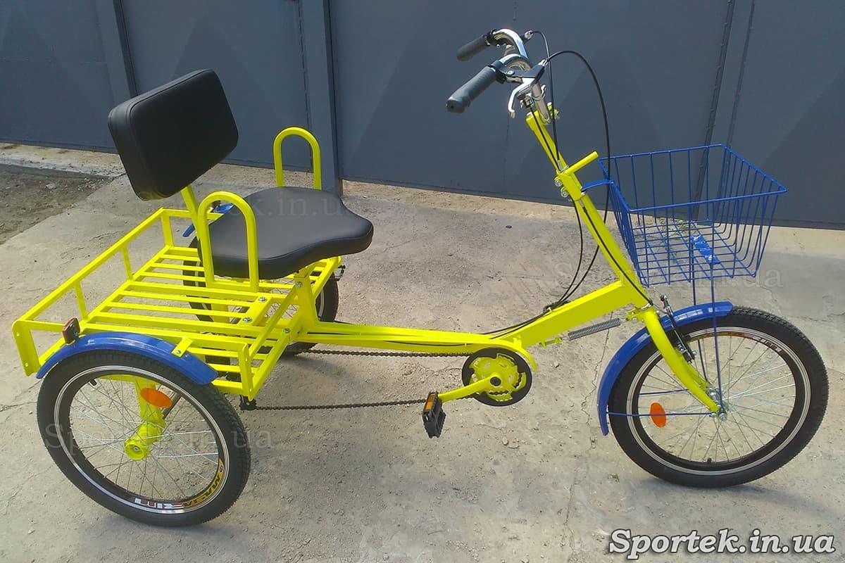 Триколісний велосипед для людей вагою 110-190 кг 'Атлет малий' (жовтий)