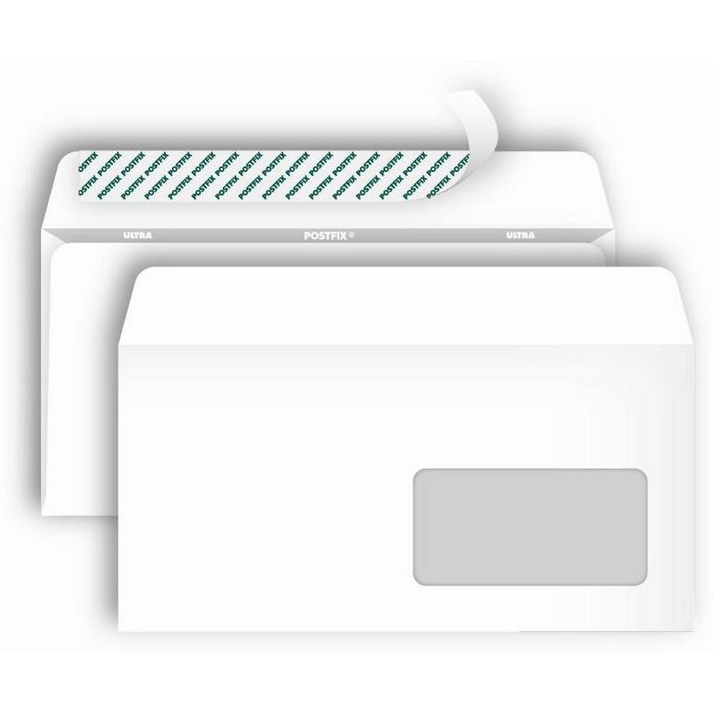 Конверт Postfix Bong Е65 80 г/кв.м белый стрип с внутренней запечаткой с правым окном (1000 штук в упаковке)