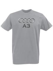 Футболка с принтом Ауди A3 (Audi A3) серая 002