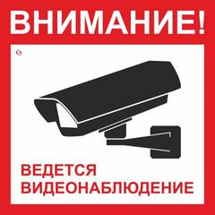 Знак безопасности V40-01 Ведется видеонаблюдение (пластик 200х200)