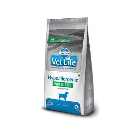 Корм Farmina Vet Life Dog Hypoallergenic Egg & Rice Лечебный сухой корм для собак, страдающих пищевой аллергией или пищевой непереносимостью с яйцами и рисом 12 кг