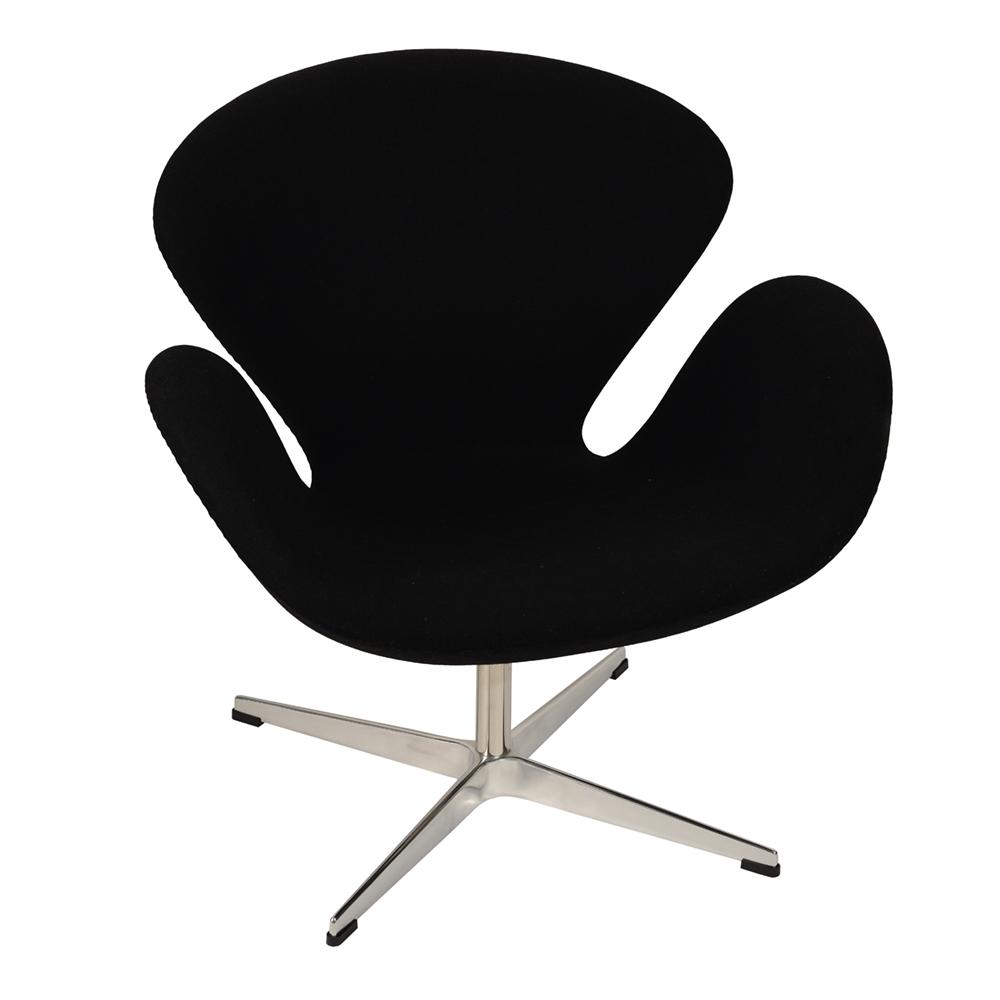 Кресло Arne Jacobsen Style Swan Chair черная шерсть - вид 1