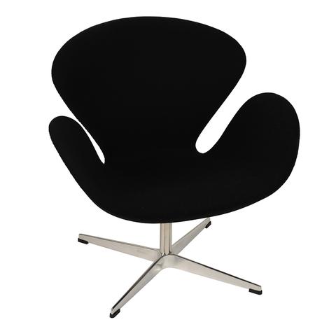 Кресло Arne Jacobsen Style Swan Chair черная шерсть