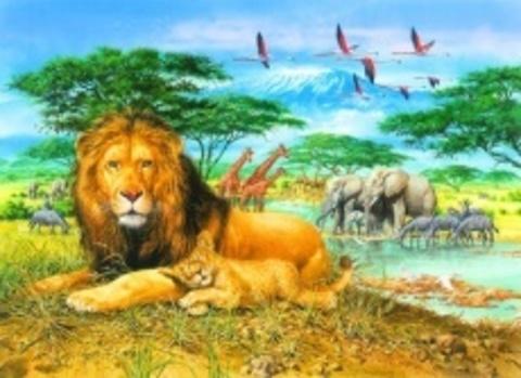 Алмазная Мозаика 40x50 Лев и львенок отдыхают на природе