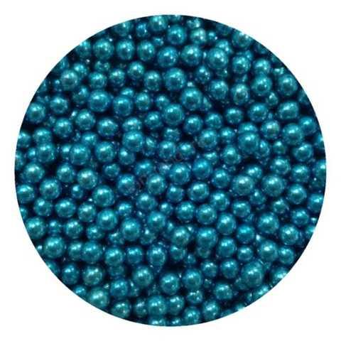 Посыпка Шарики голубые металлизированные 5мм, 25г.