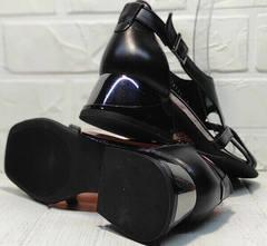 Кожаные босоножки женские черные Evromoda 166606 Black Leather.