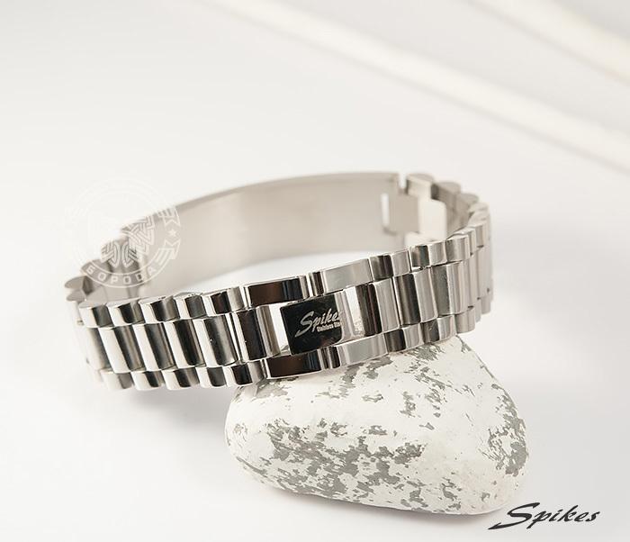SSBQ-0009-1 Мужcкой браслет из ювелирной стали с пластиной, «Spikes» (21 см) фото 05