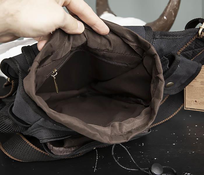BAG307-1 Мужская сумка черного цвета из текстиля отличного качества фото 11