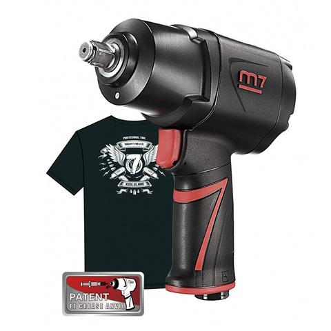 """Гайковерт пневматический ударный 1/2"""", 1627 Нм, система «EZ Grease» MIGHTY SEVEN (M7) NC-4255QH01, футболка в подарок"""
