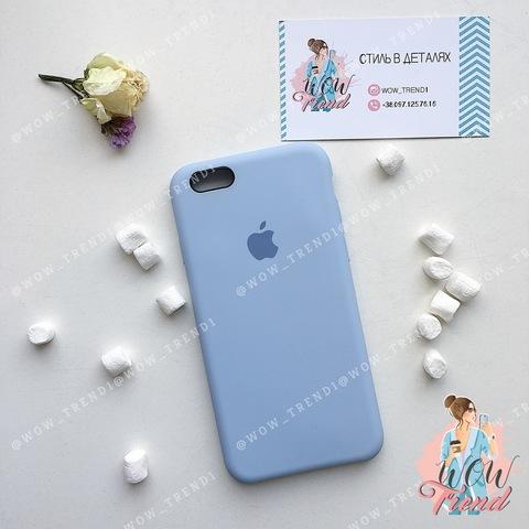 Чехол iPhone 6+/6s+ Silicone Case /lilac cream/ голубой 1:1