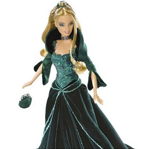 Барби Новогодняя Коллекция 2004 Зеленое Бархатное платье