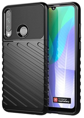 Ударопрочный защитный чехол на Huawei Y6P (2020), черный цвет, серии Onyx от Caseport